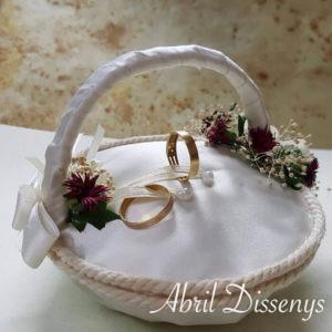 Cesta anillos boda flor seca y palmeras mini