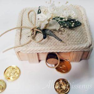 Caja porta alianzas y arras rositas