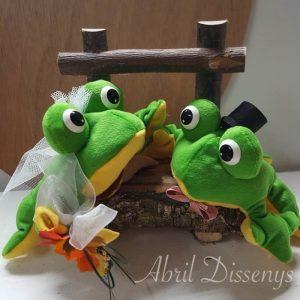 Novios ranas peluche pastel boda personalizadas