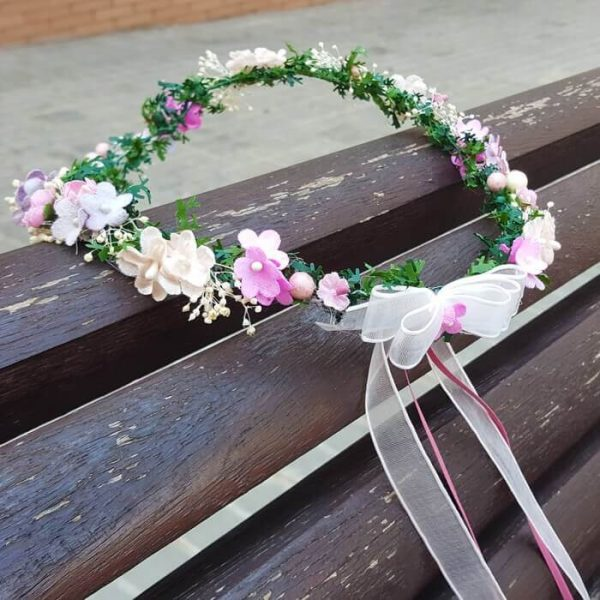 Corona flores peonias mini