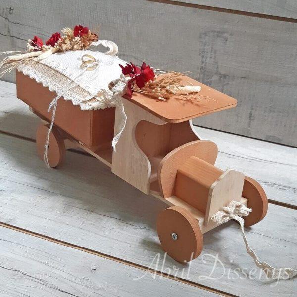 Camión porta alianzas flor seca arena
