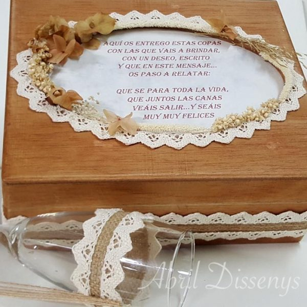 Copas cava brindis boda caja de marquetería