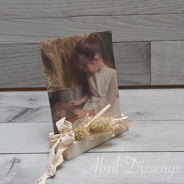 Portar retratos rustico flor seca madera pintada a la tiza