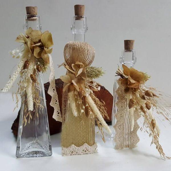 Botella vidrio colonia decor yute y flor seca
