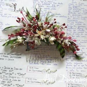 Peineta novia flor fusión