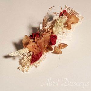 Pinza pato con flor seca Arena