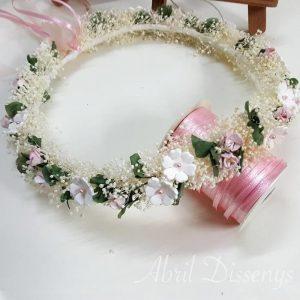 Corona flores porcelana