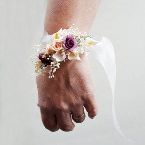 Pulsera flores y lazo seda