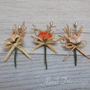Alfileres de boda flor seca color surtido 5 unid