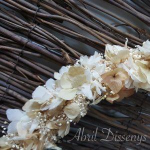 Corona flores secas hortensia