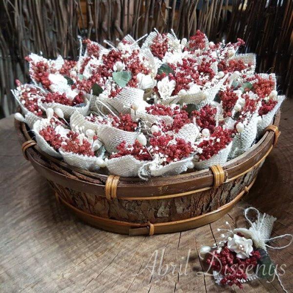 Cesta con 50 alfileres novia flor seca surtidos