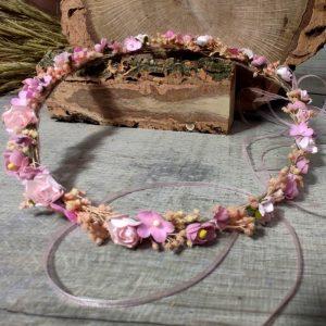 Corona Flor Rosa y Beige