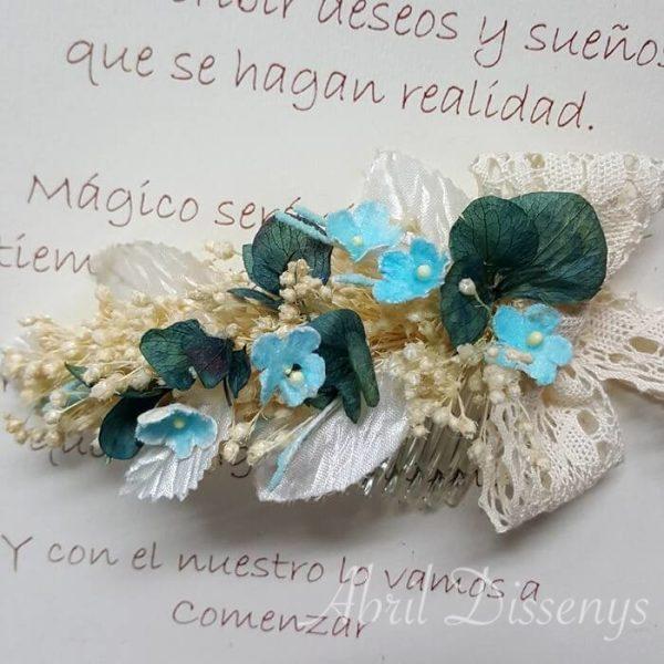 Peineta flores combinadas Vintage