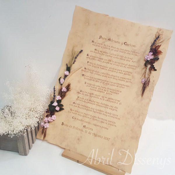 Pergamino con discurso celebraciones con Flor