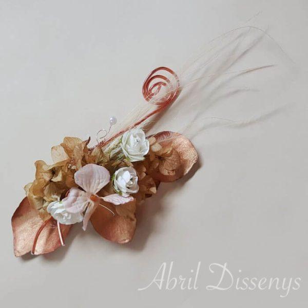 Tocado peineta hojas cobre