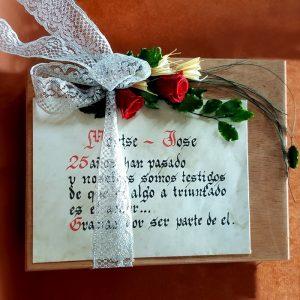 Copas brindis boda caja madera flor personalizada