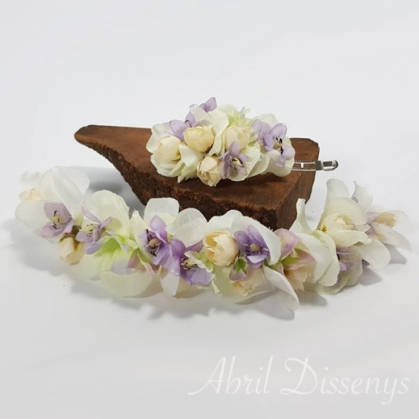 Cintura y tocado flores