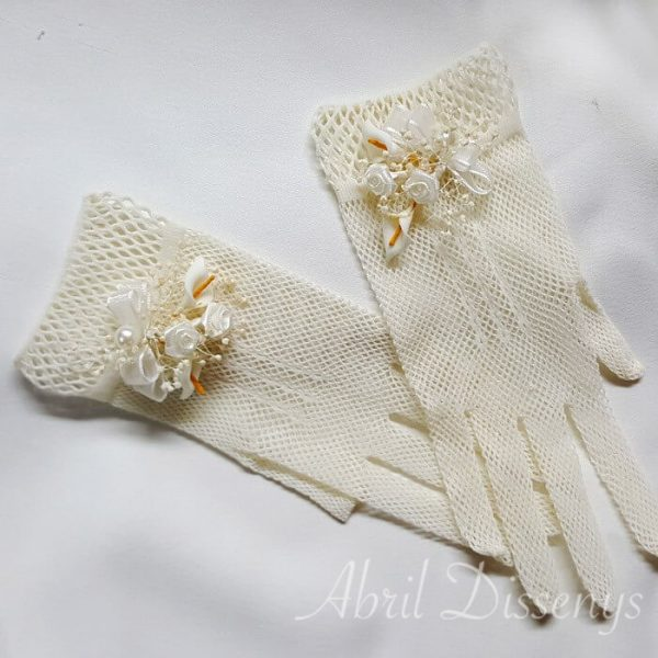 Guantes elasticos ramillete de flores Sandra