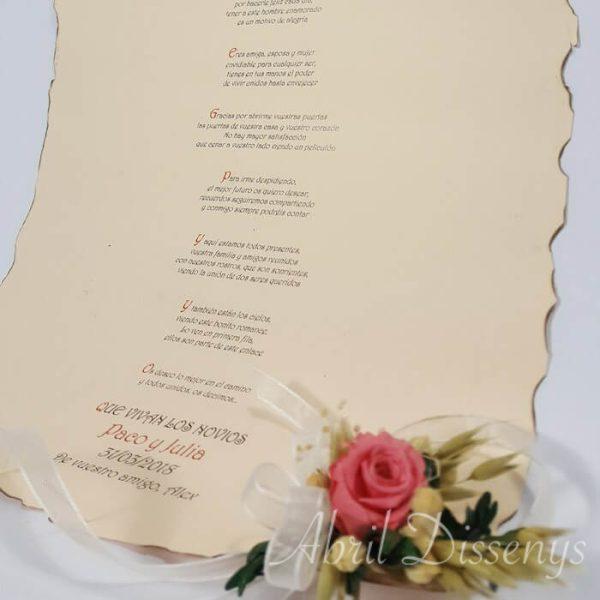 Pergamino con poesía Din A 3 flores y Argolla
