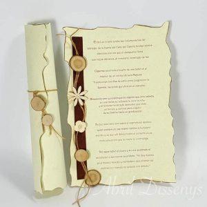 Pergamino poesía flor de madera A 4