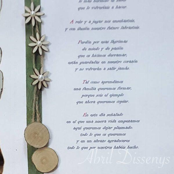 Escritos o poemas con rodajas madera
