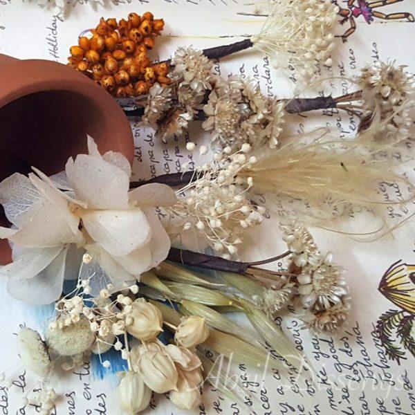 Pin de flores para el pelo preservadas en colores otoñales set de 7