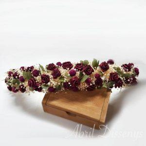 Media corona flores vino
