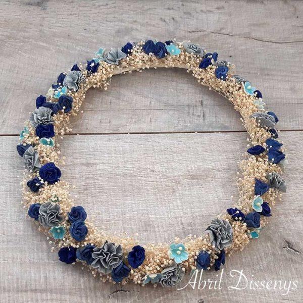 Corona de Flor Seca Azul y Gris