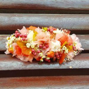 Tocado flor natural Coral