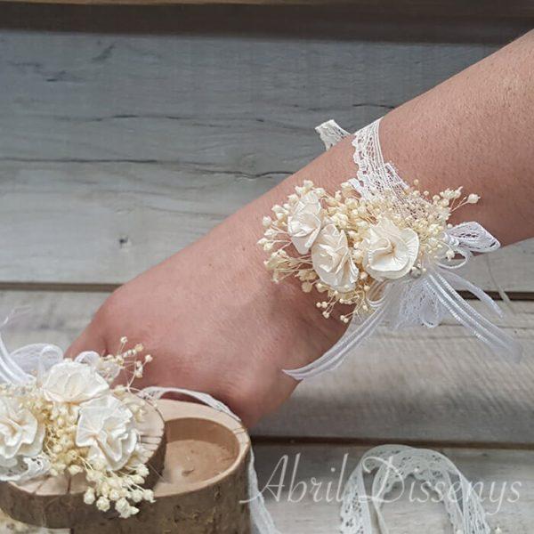 Pulsera flores secas y papel