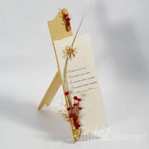 Atril texto y flor madera agradecimiento 20 x35 cm