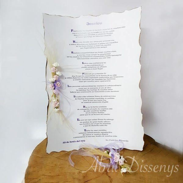 Pergamino con poesía A 3 Cenefa