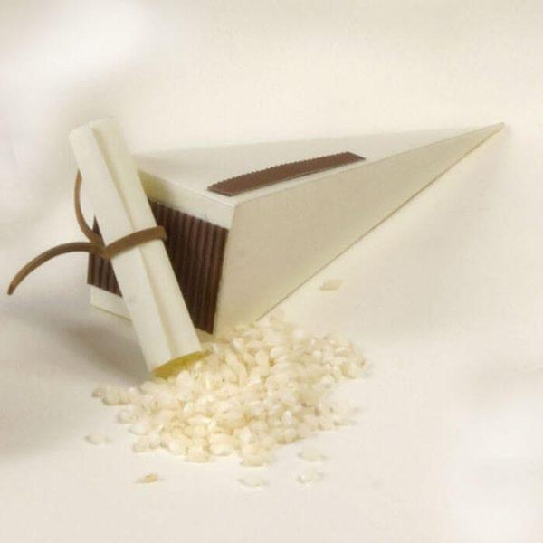 Caja con arroz texto personalizado