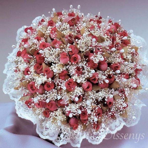 Ramo de 100 alfileres flor seca y rafia