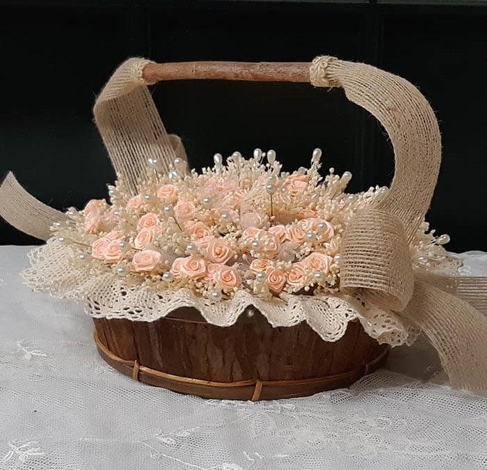 Cesta 80 alfileres flor novia satén