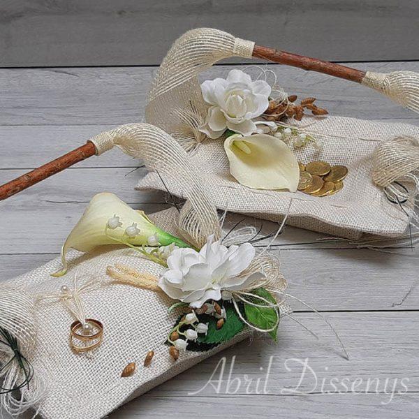 Set cestas anillos y arras gardenias