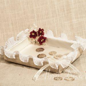 Bandeja para arras flor burdeos Escarlata