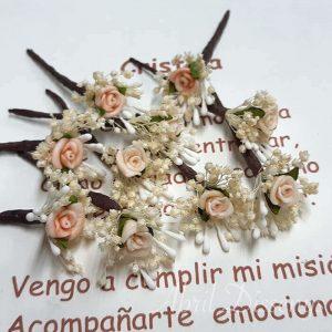 Rosa mini con pistilos set de 7