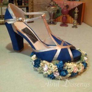 Tiara Rosa Azul y Beige
