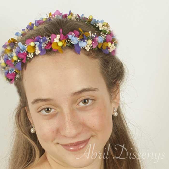Diadema flores lateral claveles Laura