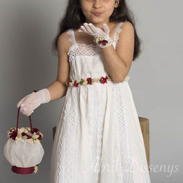 Set de Comunion Cinta cintura de flores, bolso limosnera y guantes decorados
