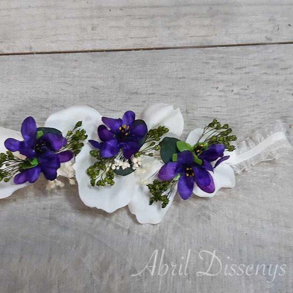 Diadema Elástica para la Bebé decoración violetas
