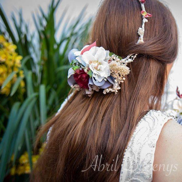 Tocado semi corona para novia o invitadas colección cerezas