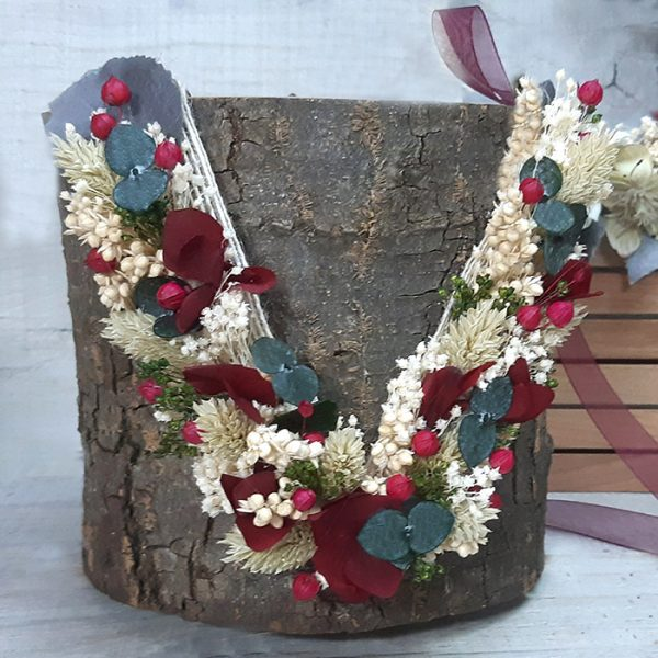Collar de Flores en Tapiz Cerezas