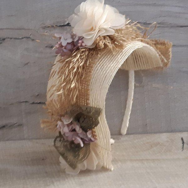 Diadema casco con flores Hanae