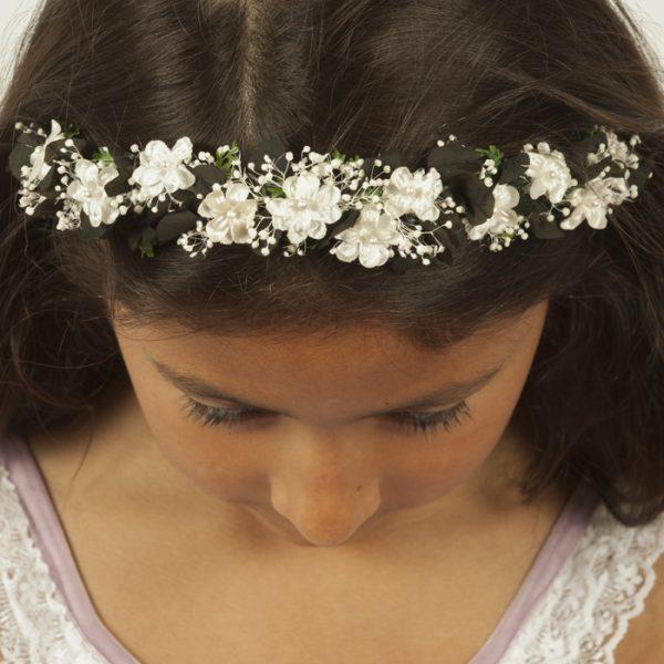 Diadema flor miosoti negro