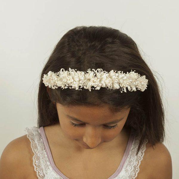 Diadema con flores de edelweiss blancas perfectas para niñas de comunión
