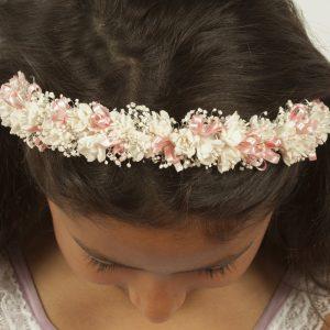 Diadema con flores secas y edelweiss rosa perfectas para niñas de comunión o arras