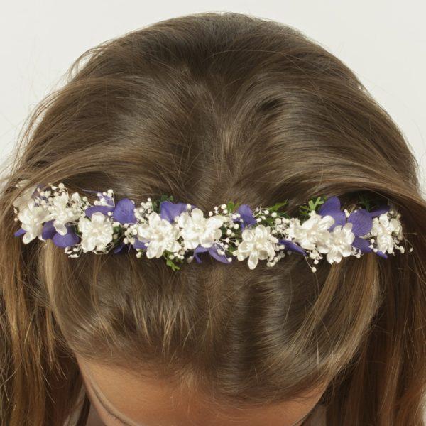 Diadema de flores lilas niñas de arras