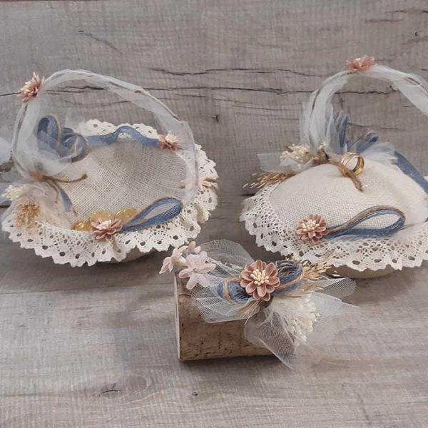 Set de boda con cesta de arras y cesta de anillos y una diadema damita
